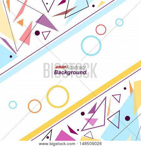 Abstract Concept. Minimalistic Fashion Backdrop Design. Patch Purple, Blue Flying Triangles Icon. Ye