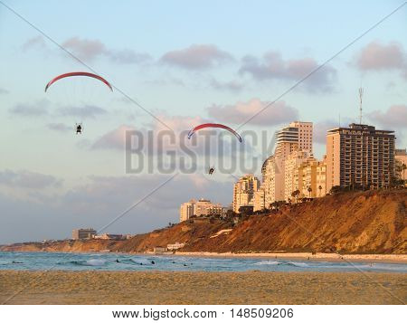 Coast of the Mediterranean sea in Netanya(Israel).