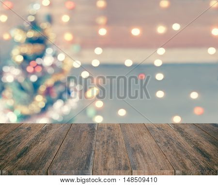 Wood Plank With Sparkle Bokeh Christmas Theme In Vintage Tone. It Glittering And Bright. You Can App