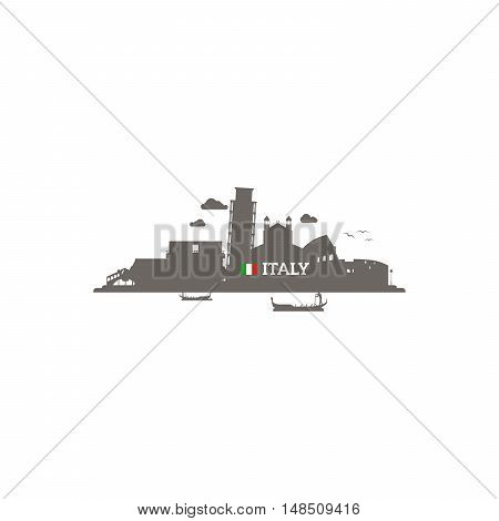Italy skyline silhouette with name of country and flag. Vector illustration