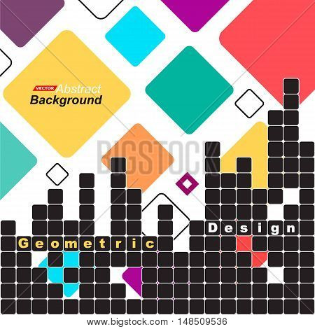 Abstract Concept. Minimalistic Backdrop Design. Patch Red, Blue, Yellow, Green Flying Square Icon. L