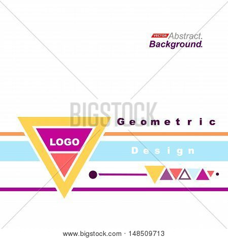 Abstract Concept. Minimalistic Fashion Backdrop Design. Triangle Brand Logo Icon. Pink, Yellow, Oran