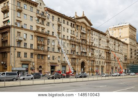 MOSCOW, RUSSIA - JUN 29, 2015: Repairing works of the building facade at street Krasnoprudnaya 3-5. Krasnoprudnaya street is one of the most important highways of Krasnoselsky district.