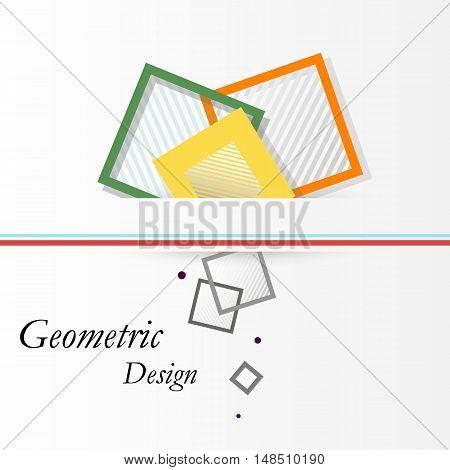 Abstract Concept. Minimalistic Backdrop Design. Square Brand Logo Icon. Green, Orange, Yellow Box Bl