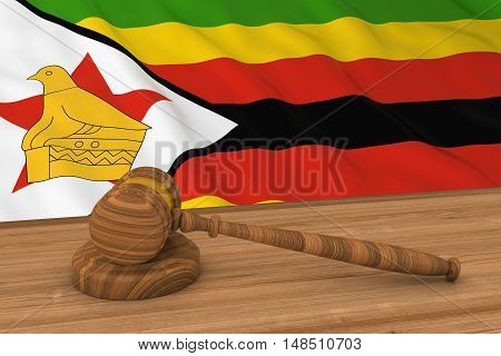 Zimbabwean Law Concept - Flag Of Zimbabwe Behind Judge's Gavel 3D Illustration