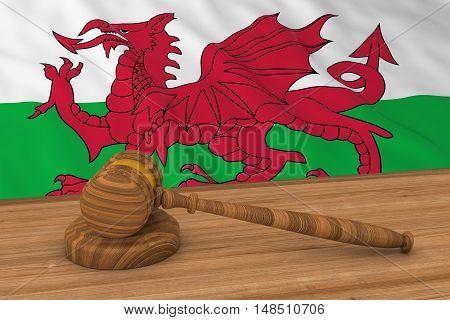Welsh Law Concept - Flag Of Wales Behind Judge's Gavel 3D Illustration