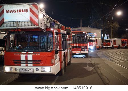RUSSIA, MOSCOW - FEB 26, 2015: Many fire - engine are standing on the street near Preobrazhenskaya ploshchad subway.