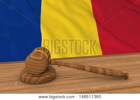 Romanian Law Concept - Flag Of Romania Behind Judge's Gavel 3D Illustration