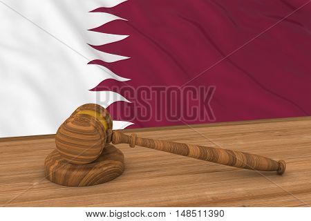Qatari Law Concept - Flag Of Qatar Behind Judge's Gavel 3D Illustration