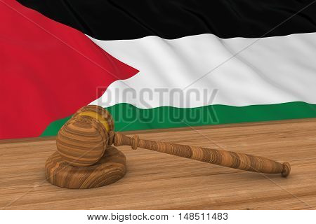 Palestinian Law Concept - Flag Of Palestine Behind Judge's Gavel 3D Illustration