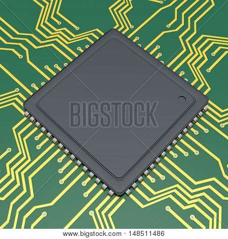 3D rendering of Computer processor chip closeup