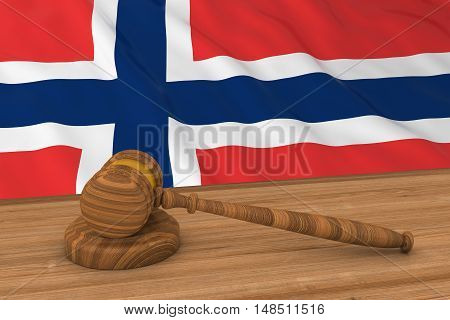 Norwegian Law Concept - Flag Of Norway Behind Judge's Gavel 3D Illustration