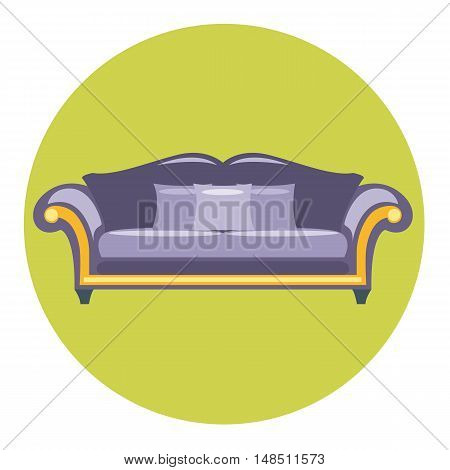 Digital vector purple sofa with pills over green circle isolated, flat style