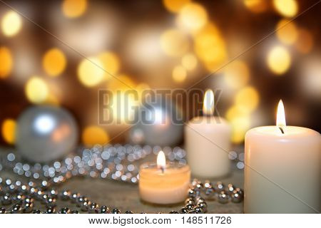 Festive Greeting Card With Candles, Pearls And Christmas Balls
