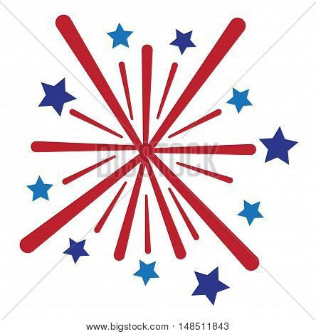 Isolated American Red White and Blue Firework