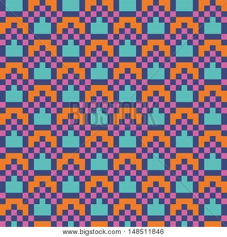 Bright abstract modern seamless stitching pattern. Pixel art. Vector illustration