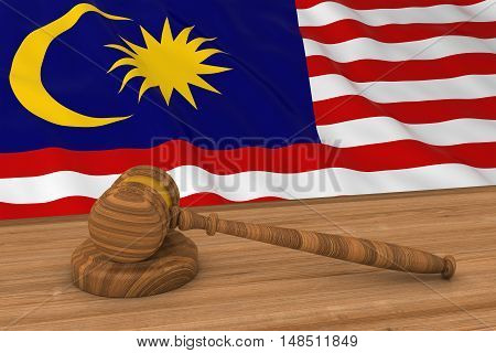 Malaysian Law Concept - Flag Of Malaysia Behind Judge's Gavel 3D Illustration