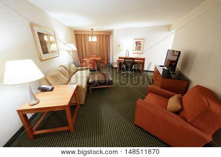 PHILADELPHIA - September 2, 2014: living room in Embassy Suites