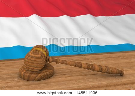 Luxembourgish Law Concept - Flag Of Luxembourg Behind Judge's Gavel 3D Illustration