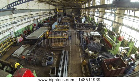 MOSCOW, RUSSIA - APRIL 17, 2014: Factory premises with high ceilings and lots of equipment in Special Automobile Plant, aerial view