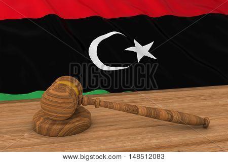Libyan Law Concept - Flag Of Libya Behind Judge's Gavel 3D Illustration