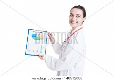 Joyful Young Medic Showing Business Diagrams