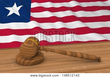 Liberian Law Concept - Flag Of Liberia Behind Judge's Gavel 3D Illustration