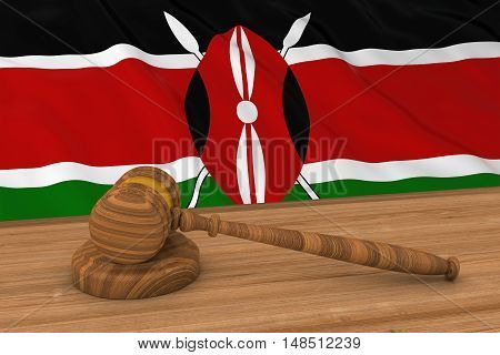 Kenyan Law Concept - Flag Of Kenya Behind Judge's Gavel 3D Illustration
