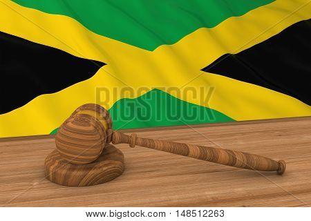 Jamaican Law Concept - Flag Of Jamaica Behind Judge's Gavel 3D Illustration