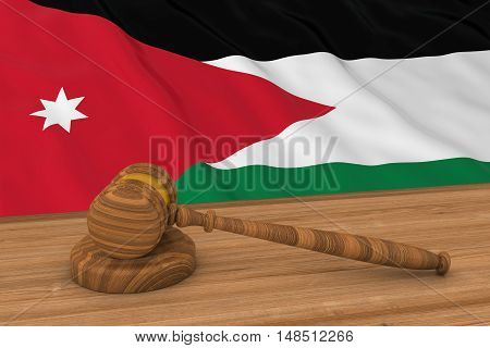 Jordanian Law Concept - Flag Of Jordan Behind Judge's Gavel 3D Illustration