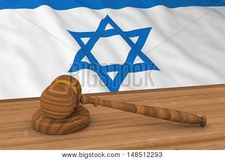 Israeli Law Concept - Flag Of Israel Behind Judge's Gavel 3D Illustration