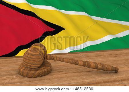 Guyanese Law Concept - Flag Of Guyana Behind Judge's Gavel 3D Illustration