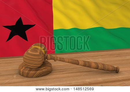 Bissau-guinean Law Concept - Flag Of Guinea-bissau Behind Judge's Gavel 3D Illustration