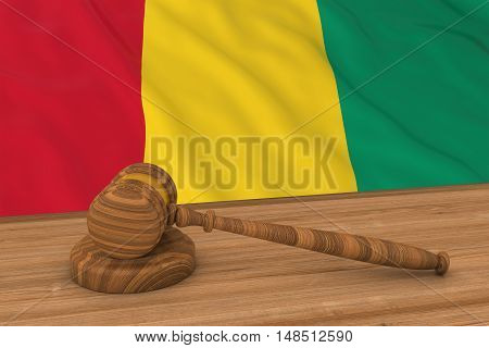 Guinean Law Concept - Flag Of Guinea Behind Judge's Gavel 3D Illustration