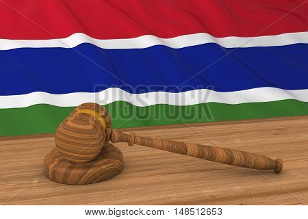 Gambian Law Concept - Flag Of Gambia Behind Judge's Gavel 3D Illustration
