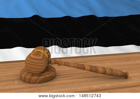 Estonian Law Concept - Flag Of Estonia Behind Judge's Gavel 3D Illustration