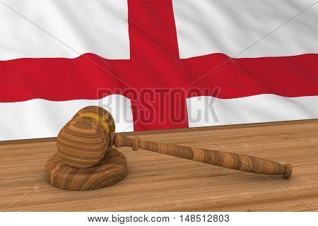 English Law Concept - Flag Of England Behind Judge's Gavel 3D Illustration
