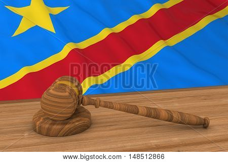Congolese Law Concept - Flag Of Dr Congo Behind Judge's Gavel 3D Illustration