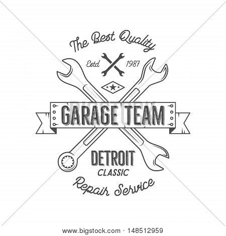 Garage service vintage tee design graphics, Detroit classic, repair service typography print. Black T-shirt stamp, teeshirt graphic, premium retro artwork. Best for emblem, logo. Vector.