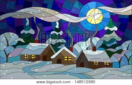 Illustration in stained glass style with the winter village scenery three single houses on the background of snowy trees snow and night sky