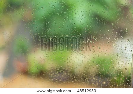 Rain Drops On Mirror Window