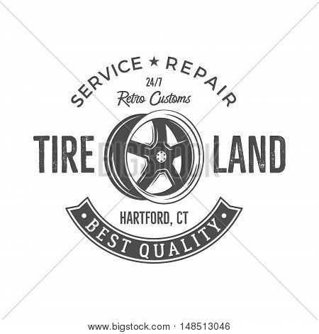 Vintage label design. Tire service emblem in monochrome retro style with vector old wheel and typography elements. Good for tee shirt design, prints, car service logo, repair station label, pathes