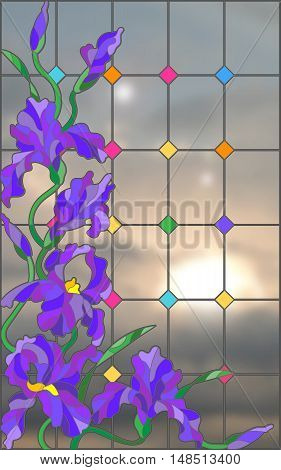 Illustration in stained glass style with flowers buds and leaves of iris against the sky