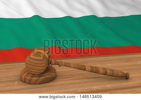 Bulgarian Law Concept - Flag Of Bulgaria Behind Judge's Gavel 3D Illustration