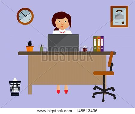 Businesswoman on the working place in the office on violet background. Vector illustration. Table, chair, clock, diploma. Perfect for advertising, brand sites and magazines