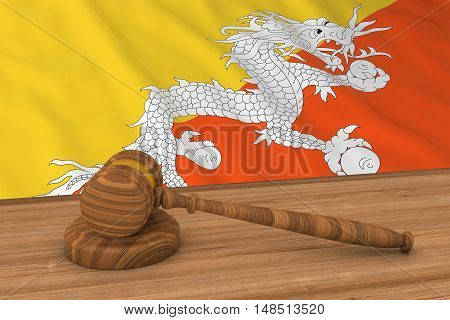 Bhutanese Law Concept - Flag Of Bhutan Behind Judge's Gavel 3D Illustration