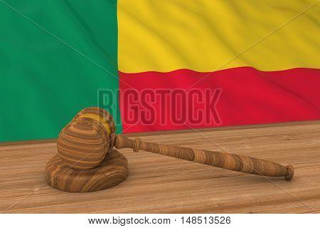 Beninese Law Concept - Flag Of Benin Behind Judge's Gavel 3D Illustration