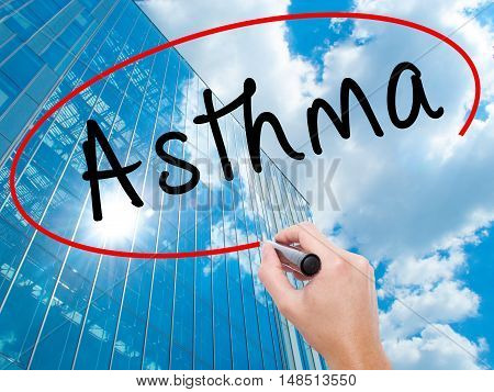 Man Hand Writing Asthma With Black Marker On Visual Screen