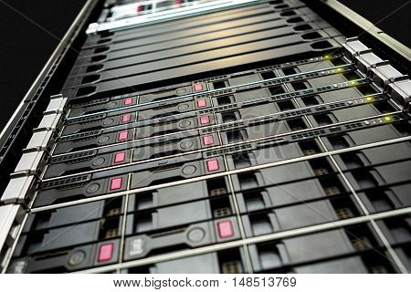 Close up detail of a rack in computer data centre.