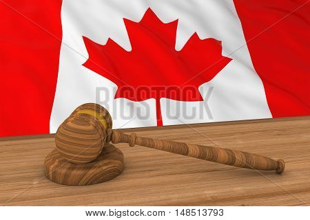 Canadian Law Concept - Flag Of Canada Behind Judge's Gavel 3D Illustration